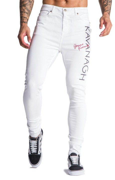Jeans Gianni Kavanagh white with Intersection Red