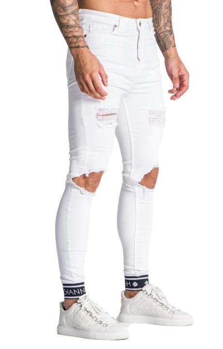 Jeans Gianni Kavanagh portés blanc avec élastique GK