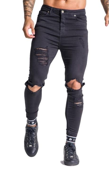 Jeans Gianni Kavanagh desgastados negros con elástico GK