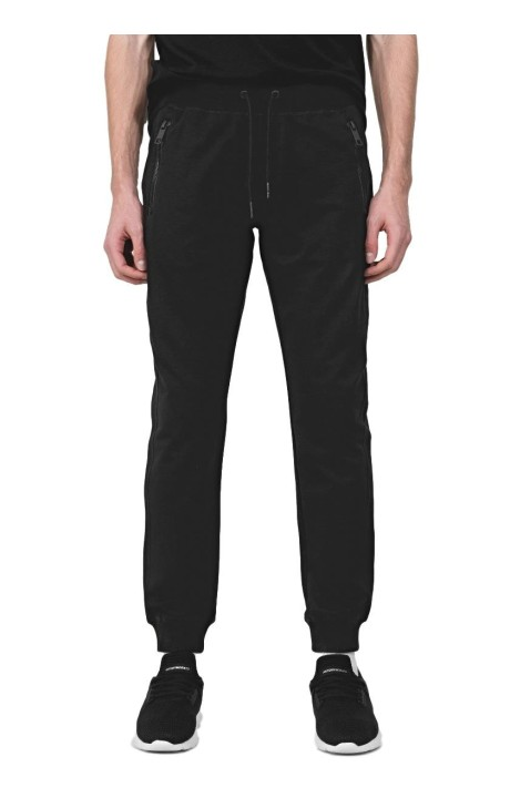 Pantalón de Felpa Negro con Placa Antony Morato