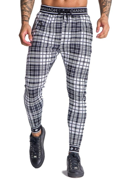 Trousers Gianni Kavanagh tartan white with elasticated GK