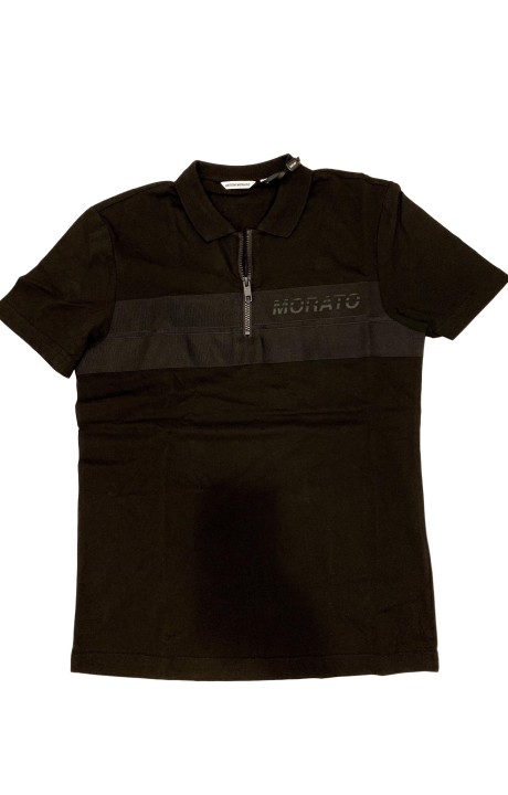 Polo Antony Morato Negro con cremallera y bordado