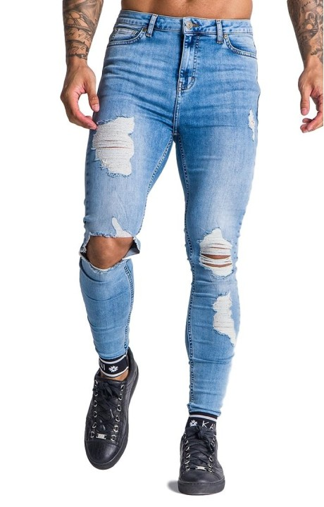 Jeans Gianni Kavanagh worn blue with elasticated GK