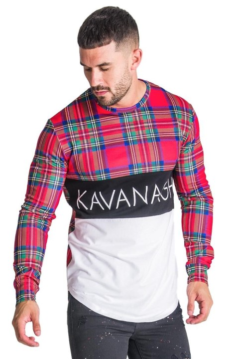 T-shirt Gianni Kavanagh à carreaux à manches longues tartan