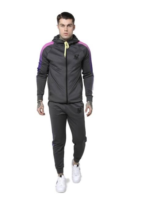 Sudadera SikSilk con capucha y cremallera Panel Gris y Neon
