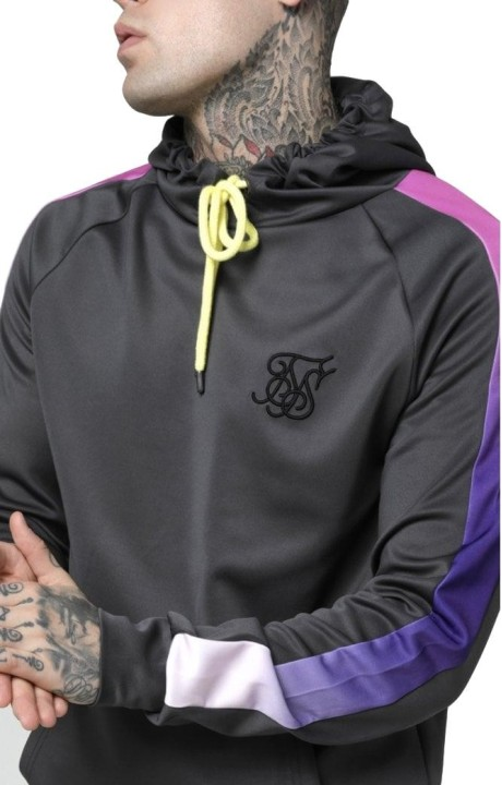 Sweatshirt SikSilk hoodie with Gray Panel and Neon
