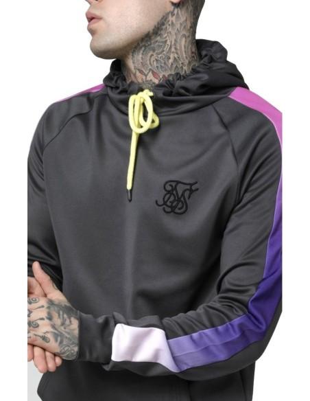 Sweatshirt SikSilk hoodie with Gray Panel and Neon