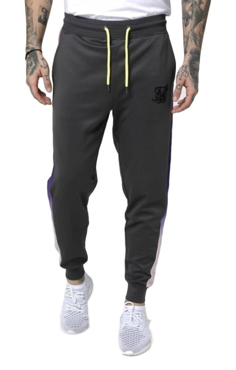 Pant tracksuit SikSilk Cropped Urban Grey and Neon