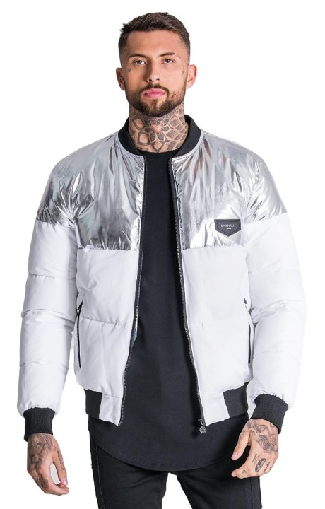 Jacket Bomber Gianni Kavanagh block / silver and white