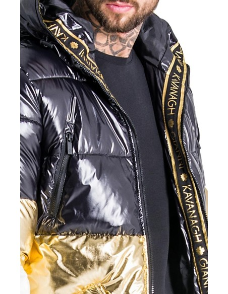 Coat Gianni Kavanagh Glacier Black , Gold and White