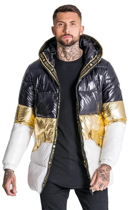 Coat Gianni Kavanagh Glacier Black , Gold and White