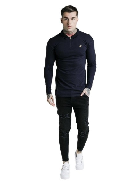 Polo SikSilk L/S Stretch Fit Zip Collar Azul Marino