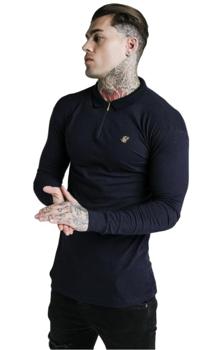 Polo SikSilk L/S Stretch Fit Zip Collar Azul Marino