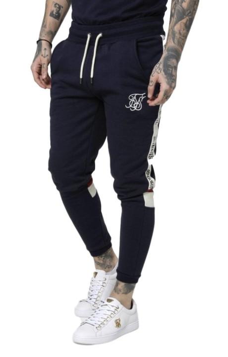 Pants Tracksuit SikSilk Retro Panel Navy Blue