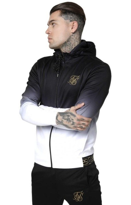Sweatshirt SikSilk Agility with zipper cut Black and White