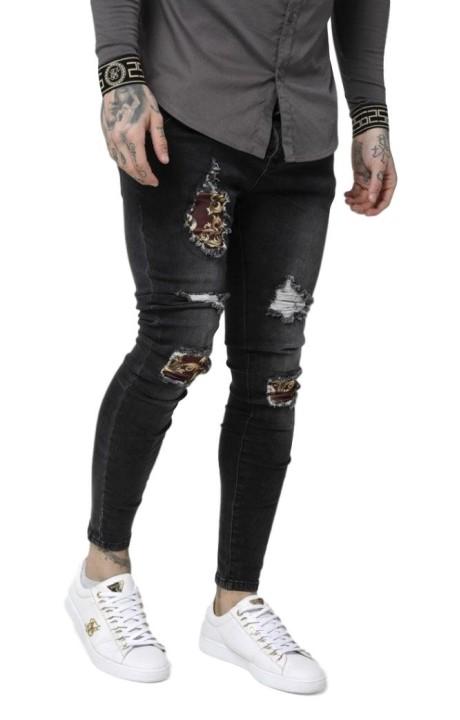 Jeans SikSilk de Tiro Bajo y Desgastado Negro