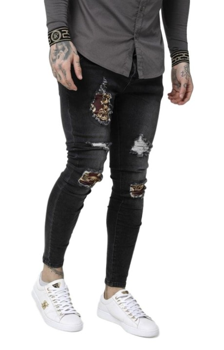 Jeans SikSilk Low rise and Frayed Black