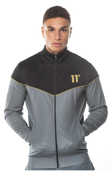 Jacket with Hood 11 Degrees Chevron Anthracite and Black
