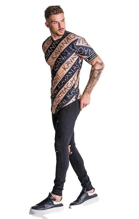 Camiseta Gianni Kavanagh Diagonal Dorada y Negra