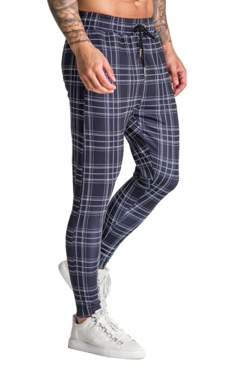 Pantalon Gianni Kavanagh Tartan Noir Tissu Extensible Exctra