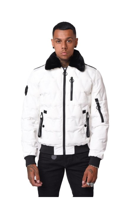 Parka Project X Paris con Cuello de Aviador Blanco