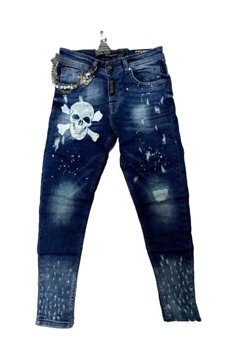 Jeans Mario Morato Skinny Fit detalle Calavera