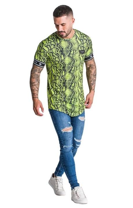 Camiseta Gianni Kavanagh con estampado de Serpiente Verde Neon