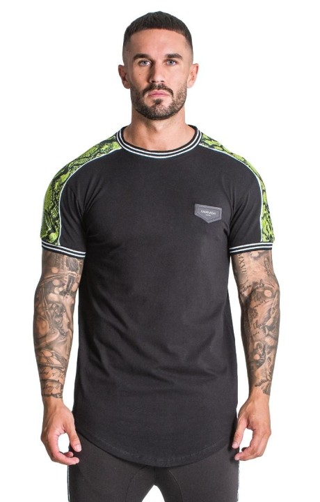 Camiseta Gianni Kavanagh Negra con detalles de serpiente