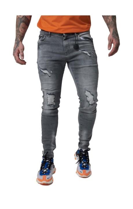 Jeans Project X Paris Efecto Desgastado y Desteñido Gris