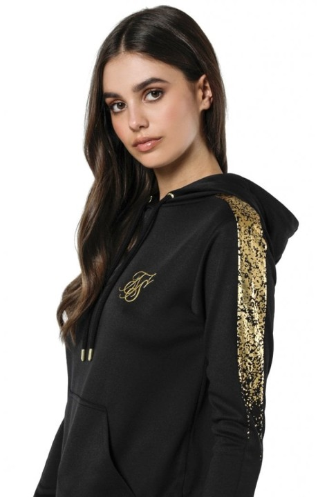 Sweatshirt with Hood SikSilk Overhead Black