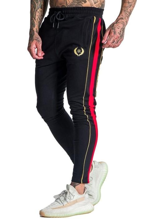 Pantalon de Chandal Roone Roman Negro Con Detalles Burdeos