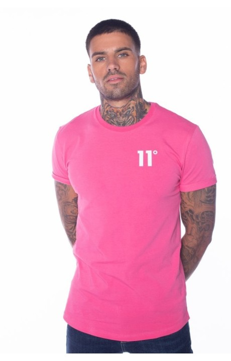 Camiseta 11 Degrees Core Muscle Fit Rosa/Blanco