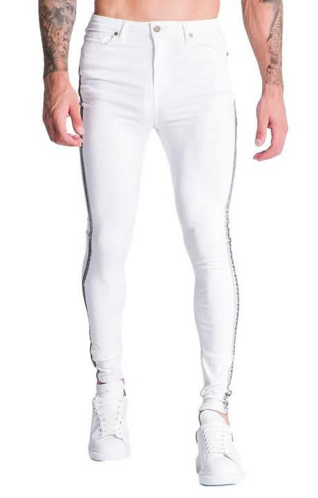 Jeans Gianni Kavanagh White With Painted Stripes, Grey
