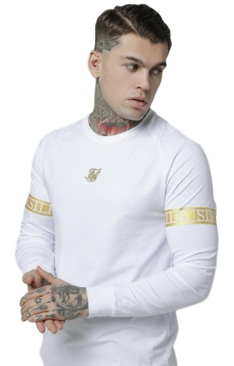 Camiseta SikSilk? L/S Tech Blanco y Dorado