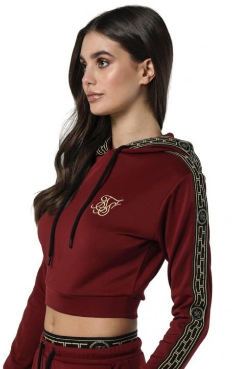 Sweatshirt with hood SikSilk Athena Bordeaux