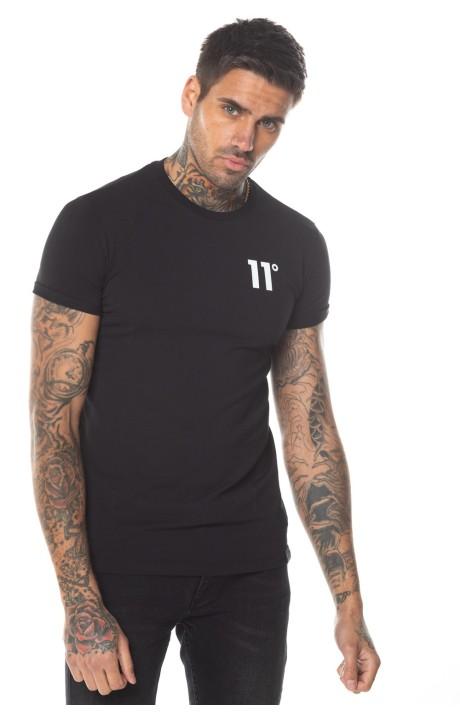 T-Shirt De 11 Degrés Musculaires De Base Ajustement En Noir
