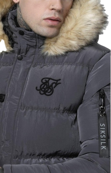 Parka SikSilk Shiny Puff Gris