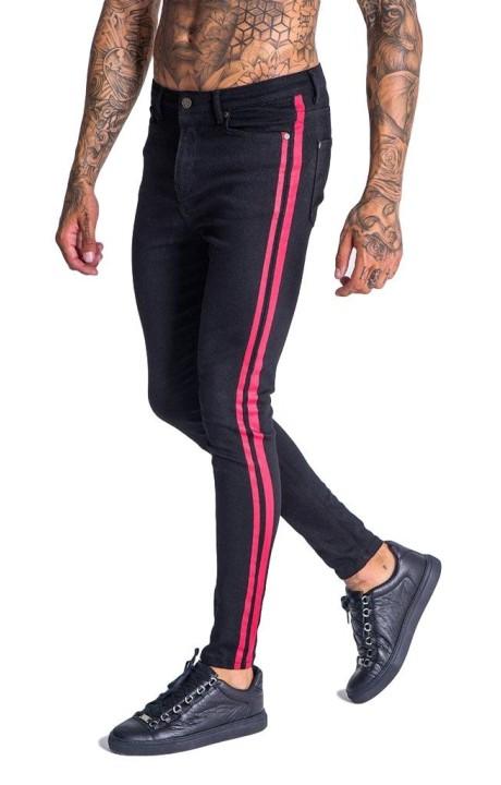 Pantalón Vaquero Gianni Kavanagh negro con rayas rojo