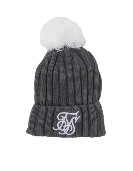 Hat SikSilk Ribbed Cuff Knit Grey